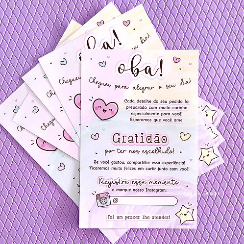 25 Folhetos de Agradecimento