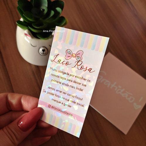 Mini Cartão de Agradecimento Holográfico