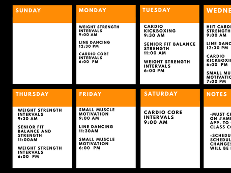 Ambered Fitness Schedule