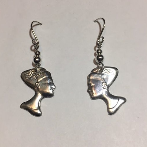 ES40a Sterling Silver Afrocentric Earrings Queen Nefertiti  2 inch