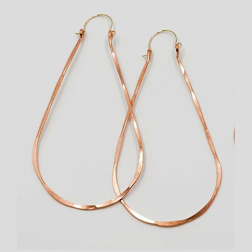 EC6 100% Copper Wire 3 inch Long Tear Drop Earrings