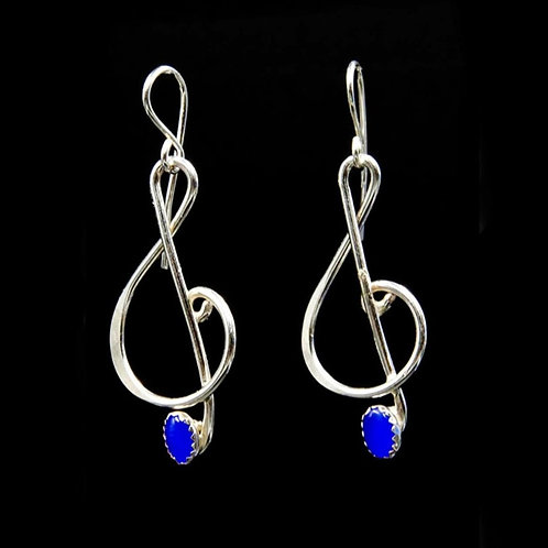 ES2 1.75inch Long Blue Cats Eye SS Music Note Earrings