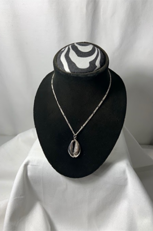 N40 Sterling silver Solid Cowrie Shell necklace