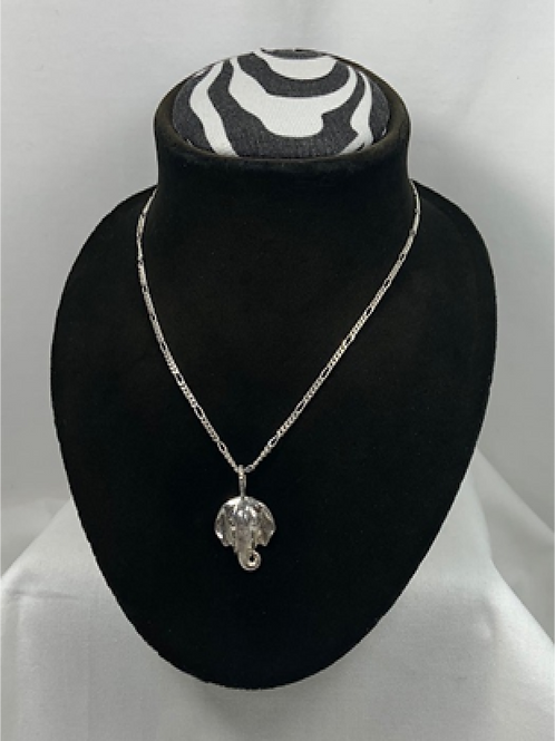 N32 Sterling Silver Elephant Head Pendant Necklace
