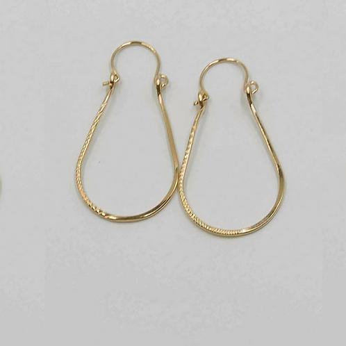 EG8 14 K Gold Filled Wire 1.5 inch Tear Drop Earrings