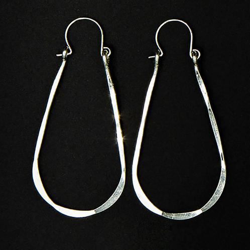 ES7 Sterling Silver 2 inch Long Wire Tear Drop Earrings