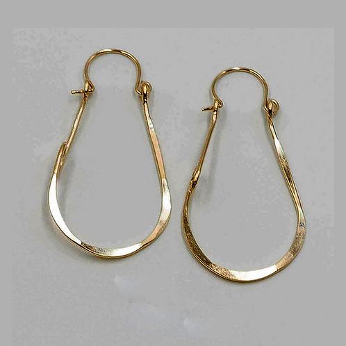 EG13 14 K Gold Filled Wire 1.75 inch Tear Drop Lightning Bolt Earrings