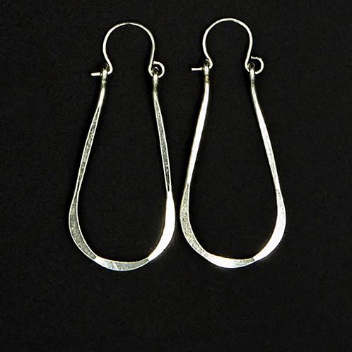 ES8 Sterling Silver 1.75 inch Long Wire Tear Drop Earrings