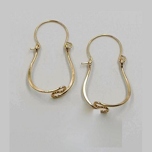 EG15 14 K Gold Filled Wire 1 inch Tear Drop Zig Zag Earrings