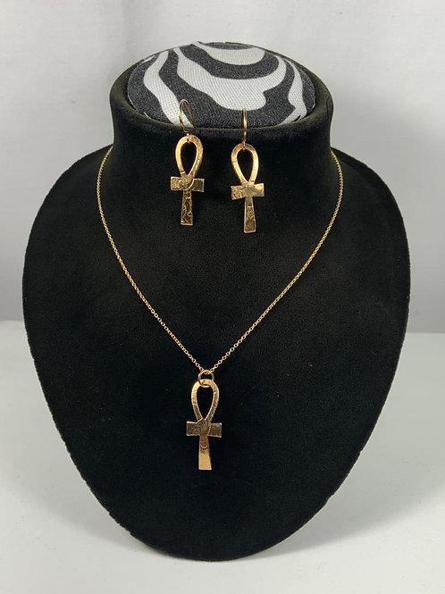 N47 14k Gold Filled Ankh Necklace Set