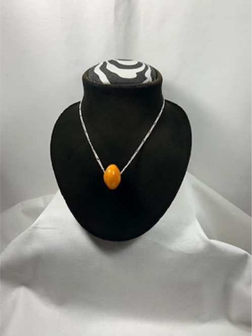 N14 Amber Sterling silver 18 inch Chain