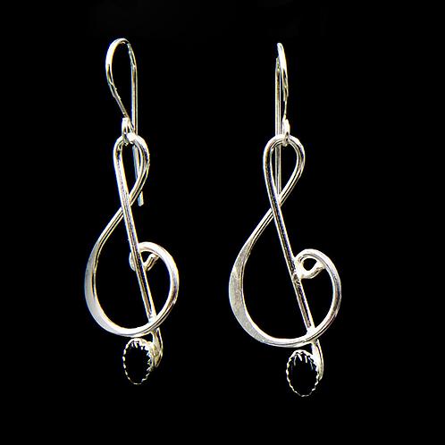 ES1    1.75 inch Long Sterling Silver Black Onyx Music Note Earrings