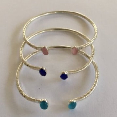 BS63 Sterling Silver Assorted Colors Of Cats Eye Baby Bracelet Pink Cats Eye