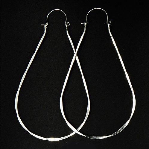 ES4 Sterling Silver 3.5 inch Long  Wire Tear Drop Earrings