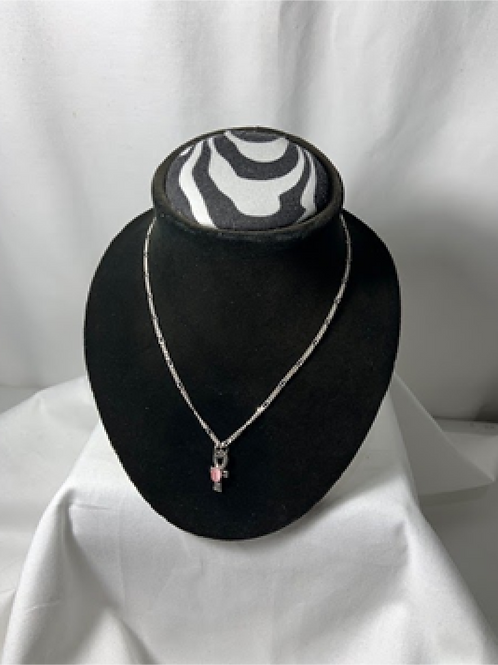 N21 Pink Cat's Eye Ankh Necklace