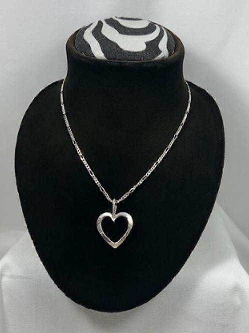 N38 Sterling silver Open Heart Necklace