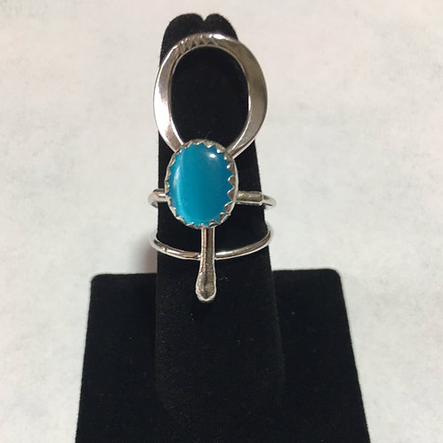 RS31 Sterling Silver Turquoise  Ankh Ring (12 x 10) Stone