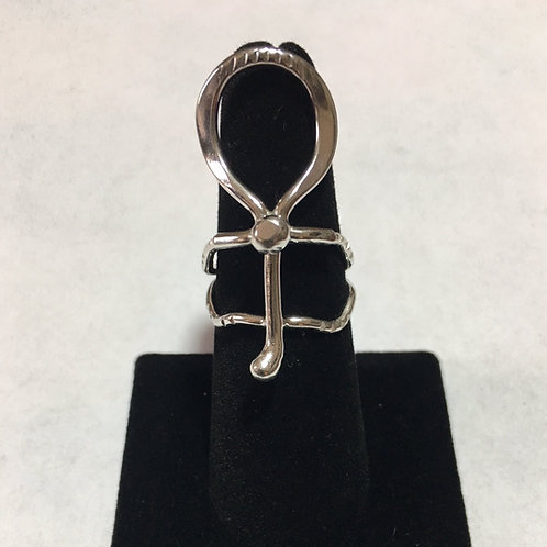 RS29 Sterling Silver Ball Ankh Ring (6 x 4)