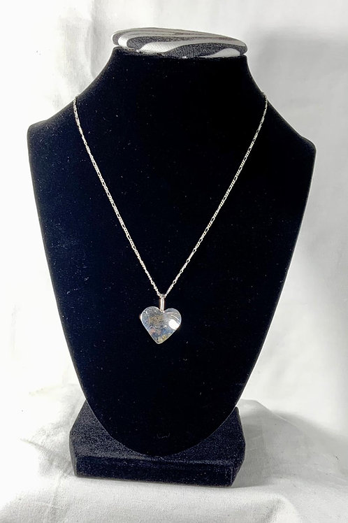 N37 Sterling silver Engraved Heart Necklace