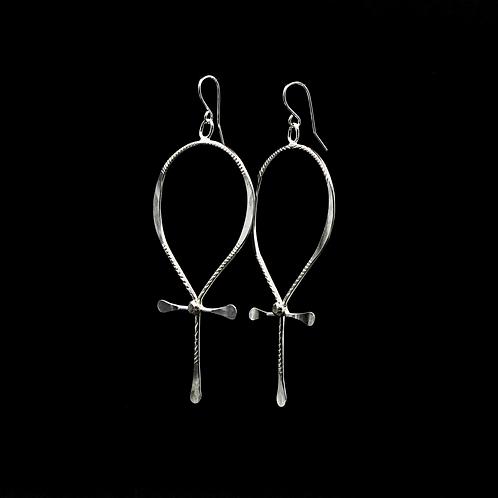 ES35 Sterling Silver 3.75 inch Long Ankh Earrings