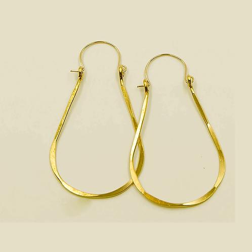 EB9 100% Brass Wire Tear Drop 1.75 inch Long Earring
