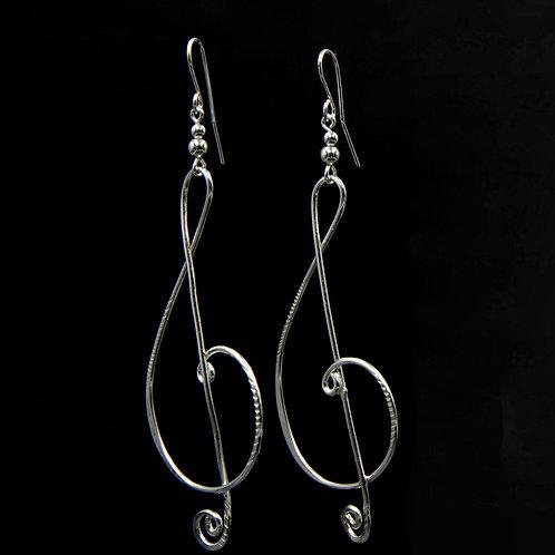ES31 Sterling Silver 3.5 inch Long Music Note Earrings