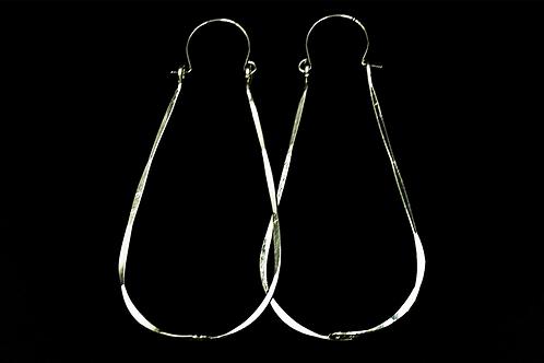 ES25 Sterling Silver 3 inch Long Wire Zig Zag Hoop Earrings
