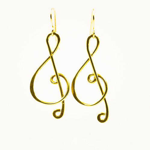 EB11 100% Brass Wire Music Note 1.5 inch Long Earring