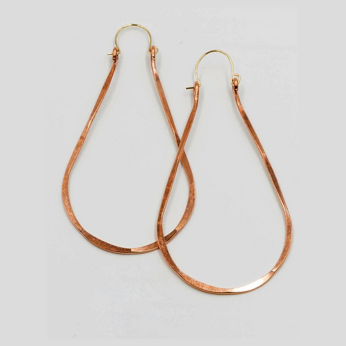 EC7 100% Copper Wire Tear Drop 3 inch Long Earrings