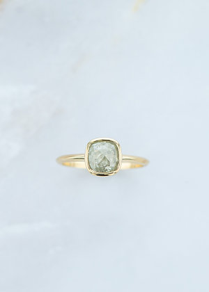 The Leda Ring | 1.31ct Cushion | Grey Diamond | Yellow Gold