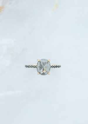 The Jett Ring | 2.07ct Cushion | Black/Grey Diamond | Yellow Gold