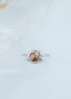 The Ophelia Ring | 1.61ct Pear | Natural Rose Diamond | White Gold