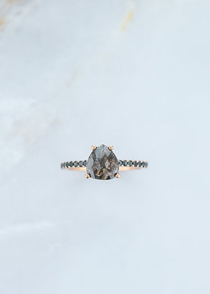 The Jett Ring | 1.31ct Pear | Black/Brown Diamond | Rose Gold