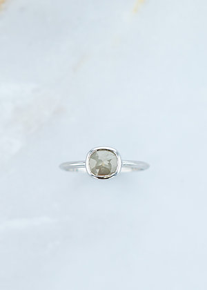 The Leda Ring | .77ct Cushion | Grey Diamond | White Gold