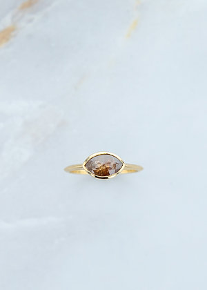 The Leda Ring   1.22ct Marquise   Natural Rose Diamond   Yellow Gold