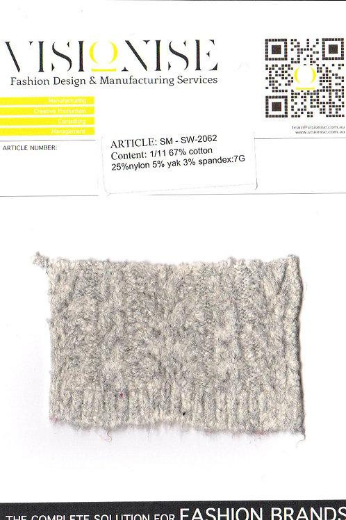 1/11 67% cotton 25%nylon 5% yak 3% spandex:7G