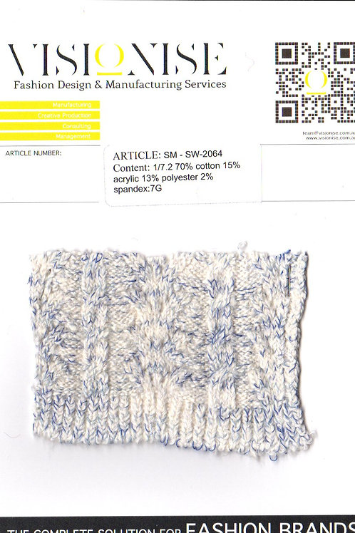 1/7.2 70% cotton 15% acrylic  13% polyester 2% spandex:7G