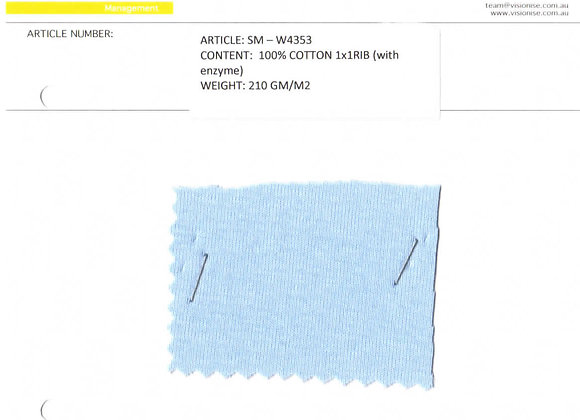 100% cotton 1x1 rib (with enzyme)