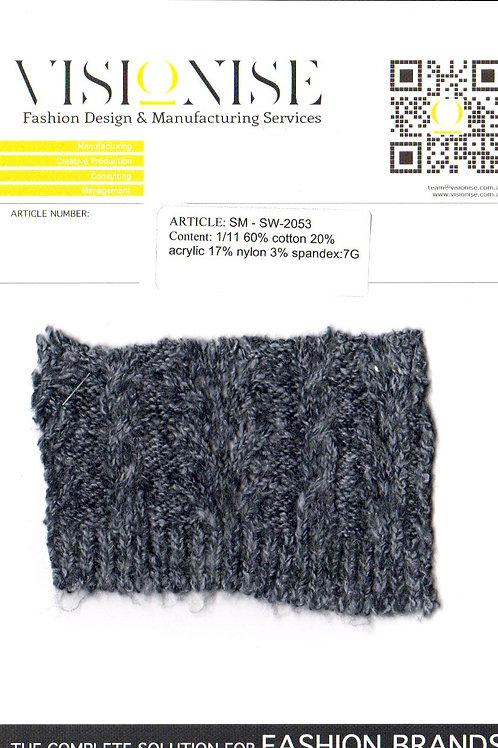 1/11 60% cotton 20% acrylic 17% nylon 3% spandex:7G