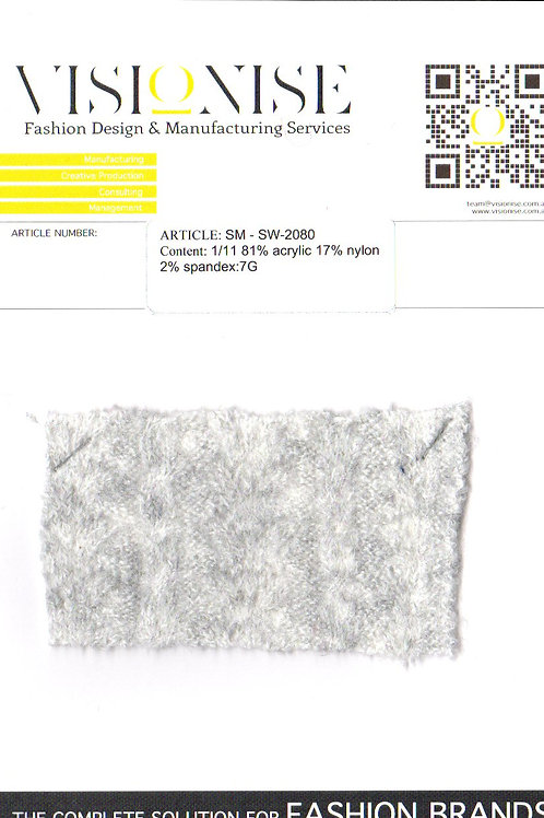 1/11 81% acrylic  17% nylon 2% spandex:7G
