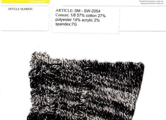 1/8 57% cotton 27% polyester 14% acrylic 2% spandex:7G
