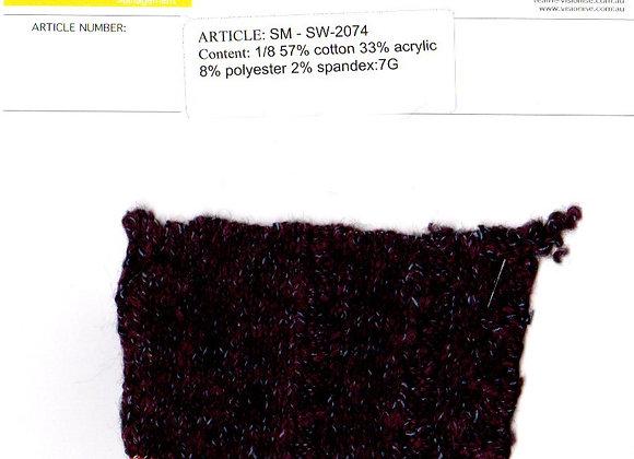 1/8 57% cotton 33% acrylic 8% polyester 2% spandex:7G