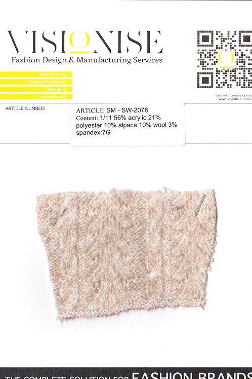 1/11 56% acrylic 21% polyester 10% alpaca 10% wool 3% spandex:7G