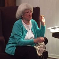 Karol Cooper eads th Prayer Shawl Ministry in prayer and conversation.