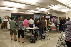 Westminster congregans worship in the Family Life Center for the contemporary service.