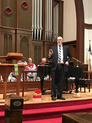 Pastor Roger Grandia preaches in the Sanctuary of Westminster Presbytrian Church in Cedar Rapids, IA.
