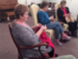 Westminster Presyterian Church's Prayer Shawl Ministry knits and chats.