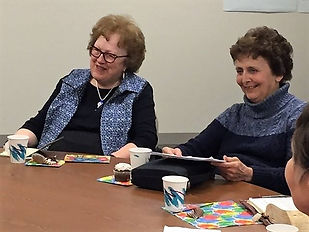 """Kindred Sisters, Pat Teig and Marcia Elhart enjoy a discussion of Max Lucado's book """"Corinthians."""""""