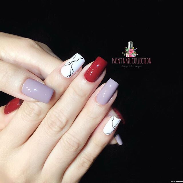 特別喜歡的一款,簡單修長的甲型,混色配撘 仙💕_Square nails plus triple colors simple nail art design ~ how can you guys n