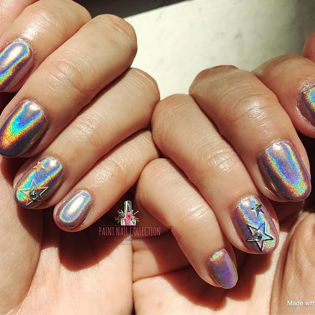 彩紅雷射粉美甲from Paint Nail,閃瞎了眼了吧🌈 !!_Halo Nails from PaintNail!! I see RAINBOWS!! Omg 🌈 _Follow us fo